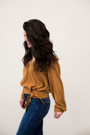 HT Wrap Front Blouse with Puff Sleeve