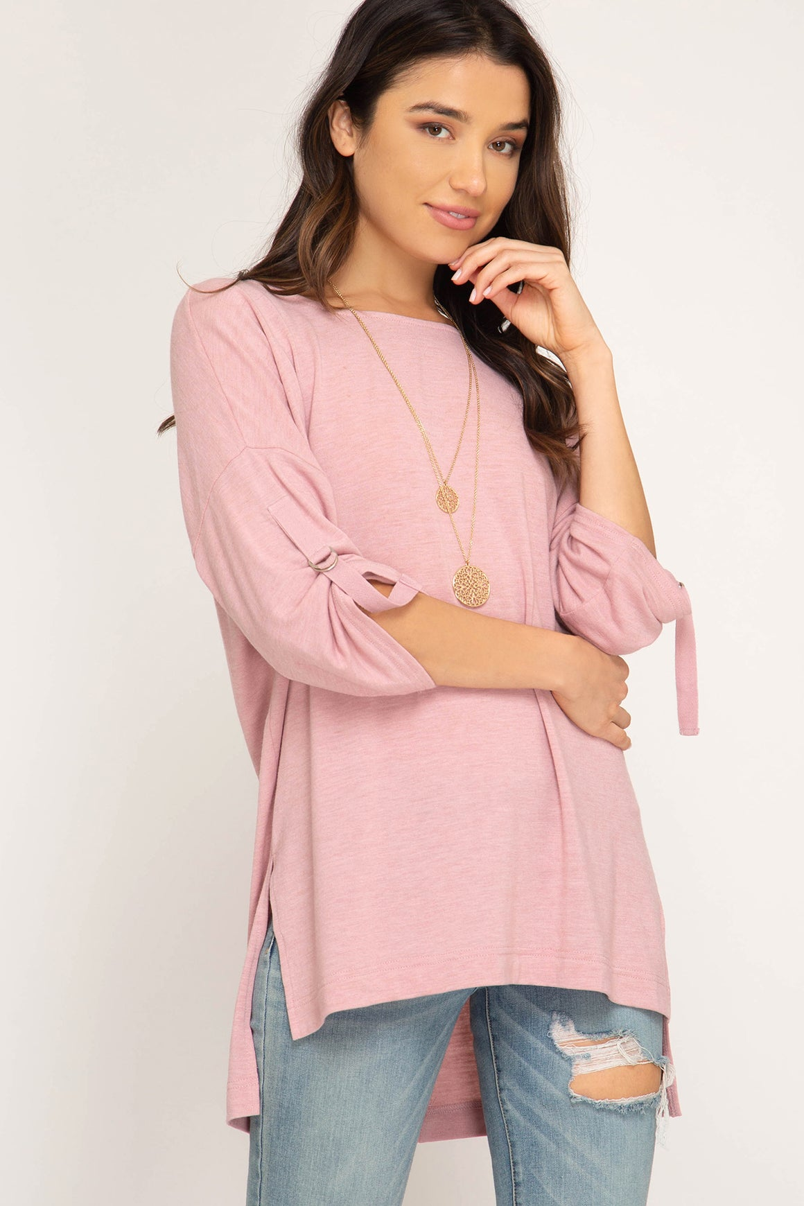 Half Roll Up Sleeve Hi Low Knit Top!