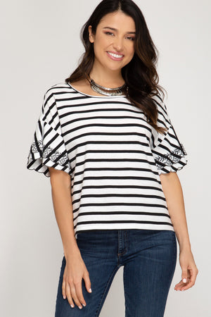 Embroidered Sleeve Striped Knit Top With Back Tie Detail!