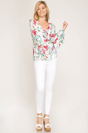Long Sleeve Floral Print Top With Front Tie!