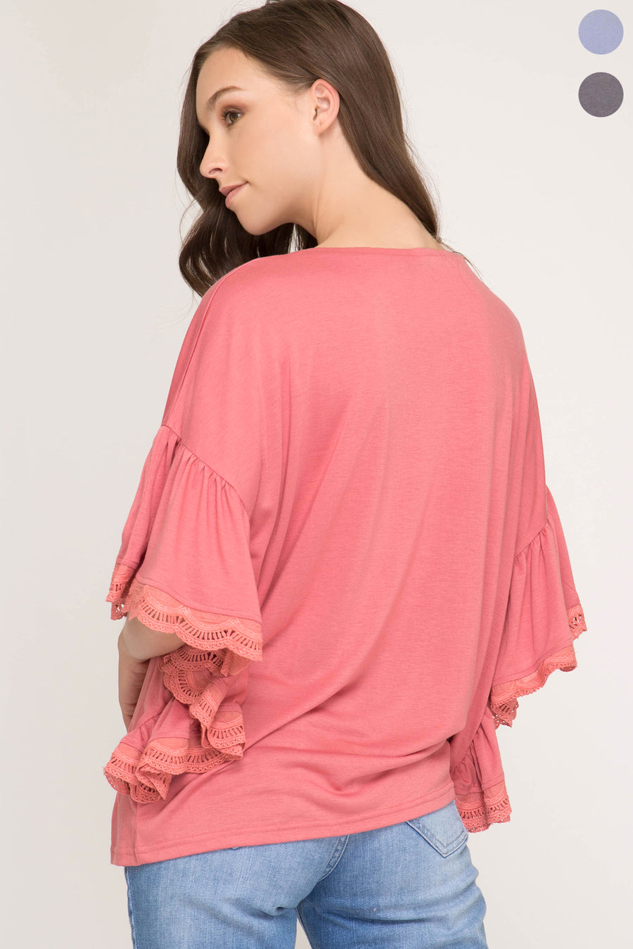 Knit Top With Lace Trimmed Bat-Winged Sleeves!