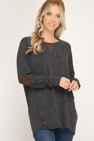 Long Sleeve Terry Knit With Faux Suede Button Details!
