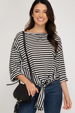 3/4 Folded Sleeve Striped Knit Top With Side Tie Detail!