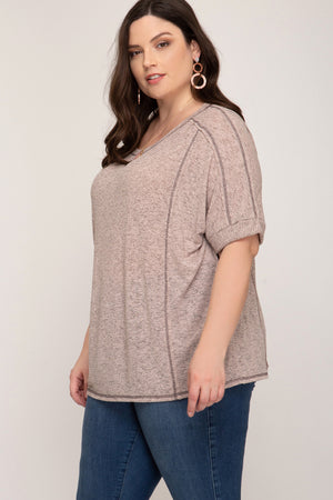 Two Toned Knit Top With Reverse Stitch Detail In Curvy Style!
