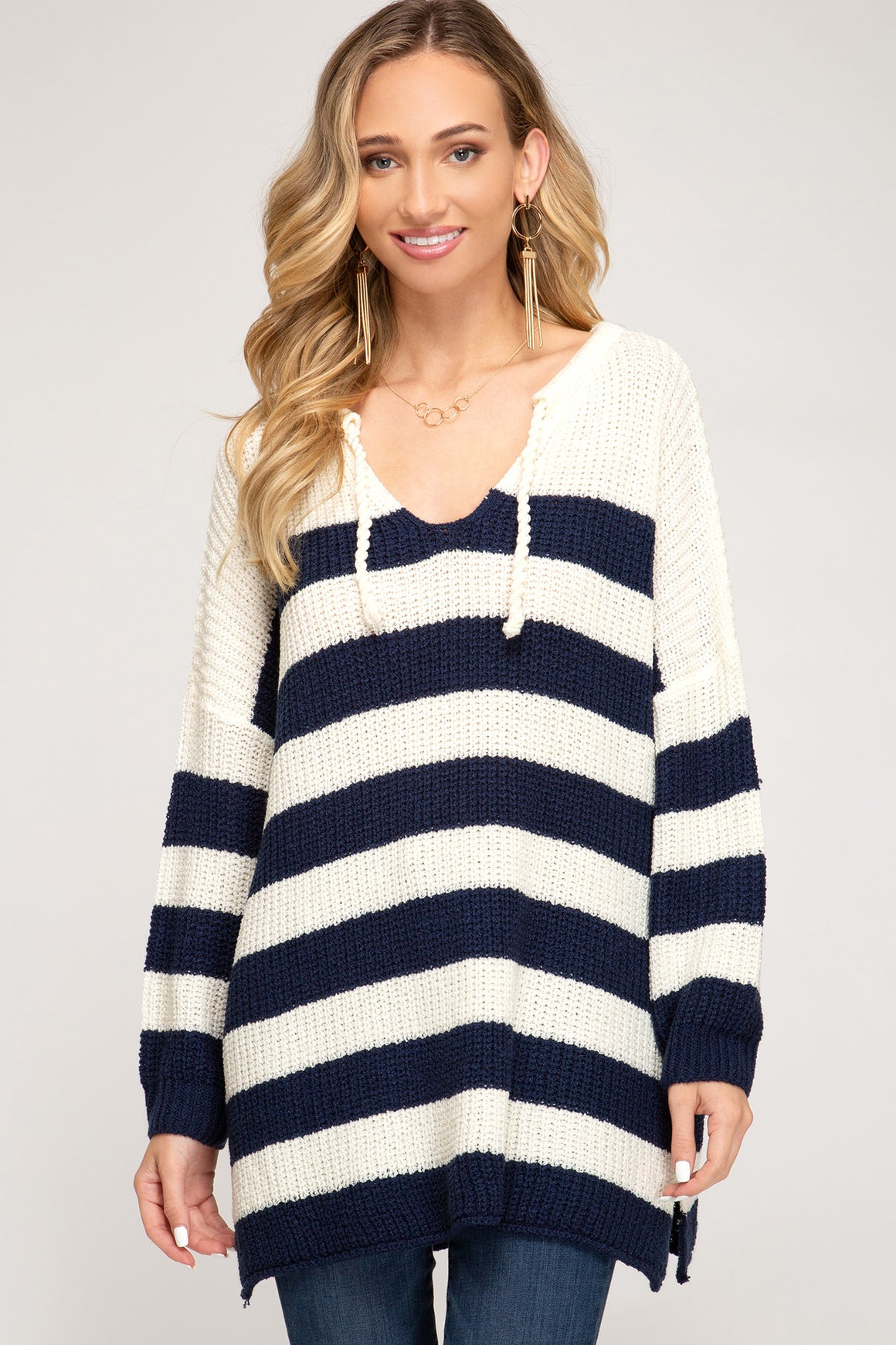 Striped Knit Pullover Sweater!