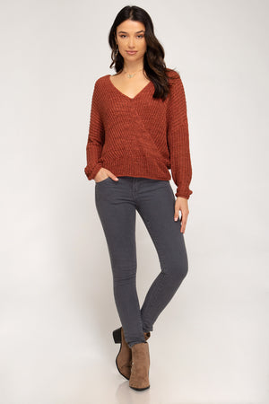 Long Sleeve Sweater With Open Back!