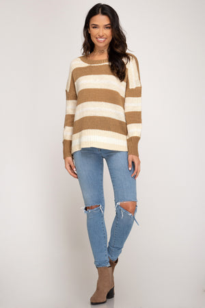 Long Sleeve Striped Knit Sweater Top!
