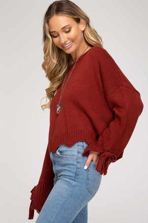 Long Sleeve Sweater With Ties On Sides!