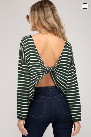 Long Sleeve Striped Sweater With Open Back Detail!