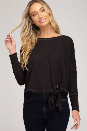 Long Sleeve Thermal Knit With Side Tie!