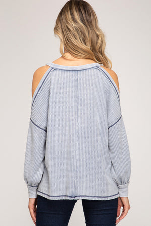 SS Long Sleeve Cold Shoulder Top!