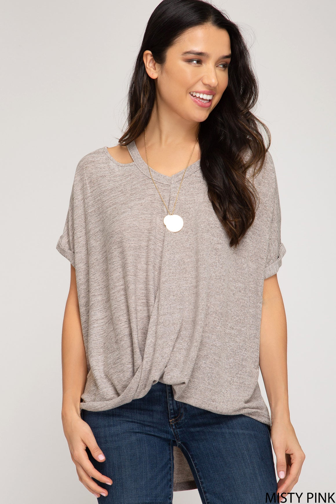 Short Sleeve Top With Cut Out Details!
