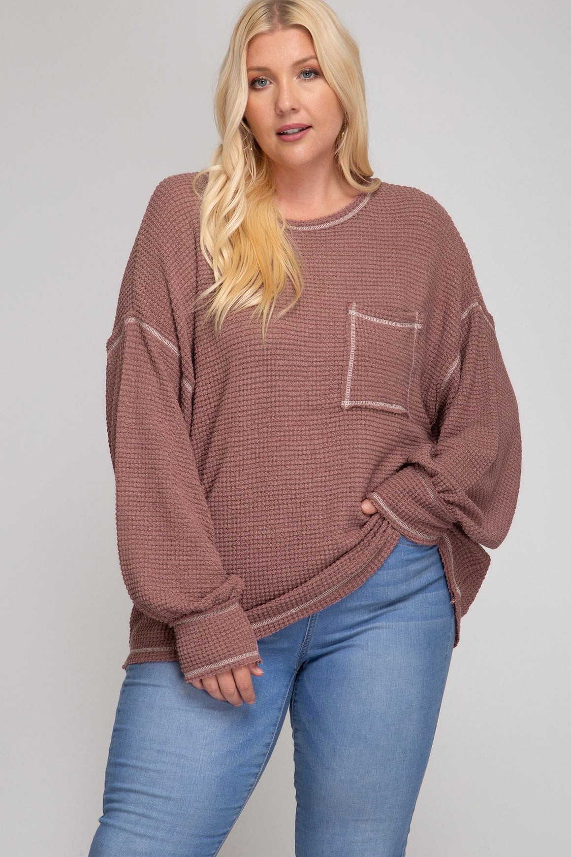 Curvy Style Long Bubble Sleeve Waffle Knit!