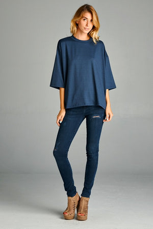 Boxy Fit Round Neck Knit Top!