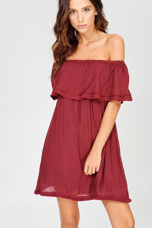 Off Shoulder Ruffle Mini Dress With Pockets!