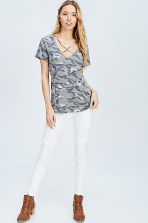 Short Sleeve Criss -Cross Camo Top!