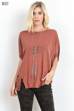 Dolman Short Sleeve Crew Neck Top!