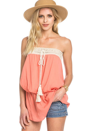 Crochet Trimmed Strapless Top
