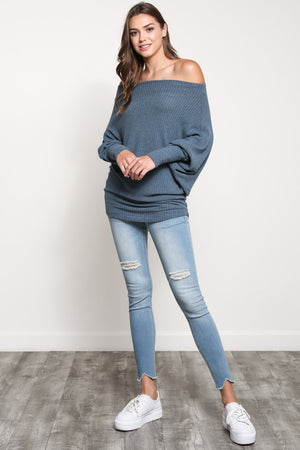 Off Shoulder Batwing Sleeve Sweater!