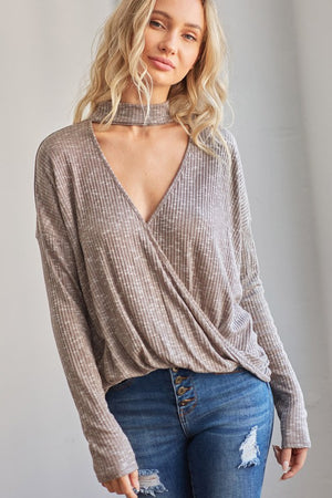 Long Sleeve Choker Top with Surplice Front!