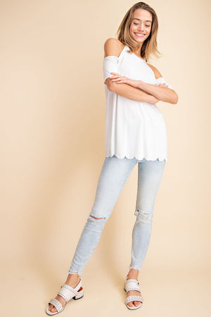 Cupro Cold Shoulder Scalloped Hem Knit Top!