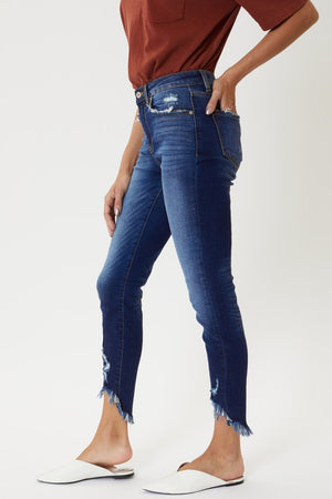 High Rise Hem Detail Ankle Skinny Jeans With Frayed Hem Line!