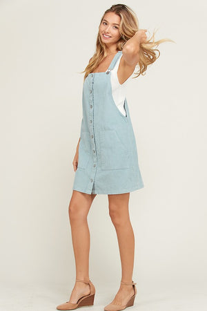 Corduroy Mini Dress With Pocket Overall Dress