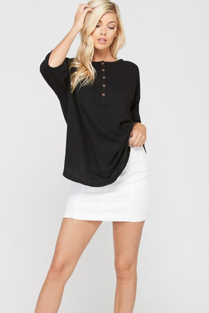 3/4 Sleeve Cotton Slub Half Button Down Top!