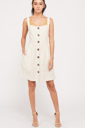 Sleeveless Cotton Mini Apron Dress With Pockets