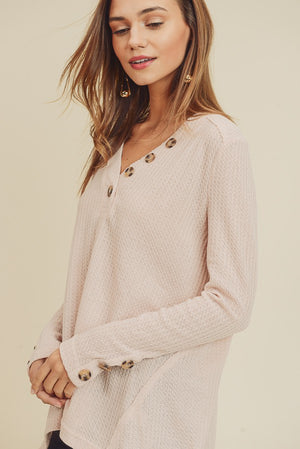 IN Waffle Knit Button Detail!