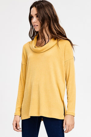 Long Sleeve Cowl Turtleneck Boxy Rib Knit Top!
