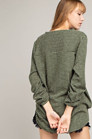 Stripe Button Down Front Tab-Up Sleeve Knit Top!