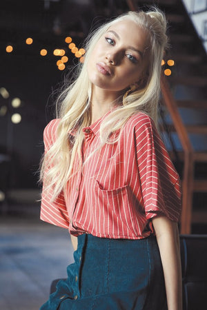 Striped Button Down Shirt!