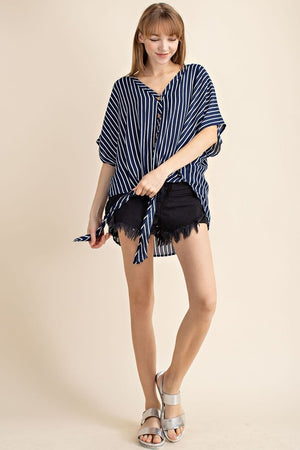Crinkle Gauze Stripe Button Down Tie Front Woven Top!