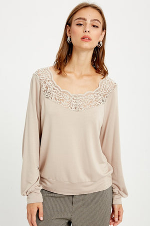 Lace Trimmed Top!