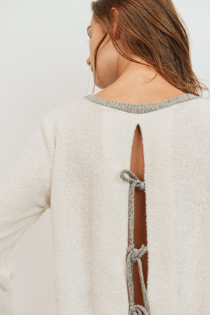 Textured Knit Long Sleeve Top With Opened Back !