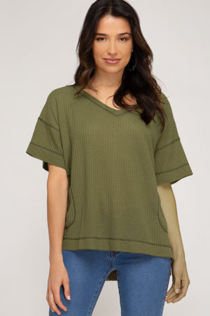 Short Sleeve Top With Hi Low Hemline!