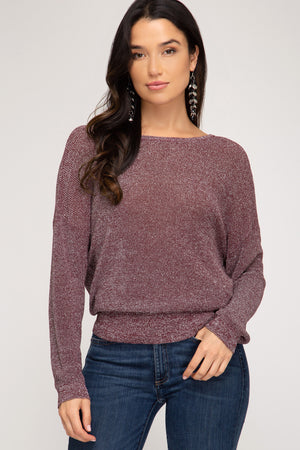 Long Sleeve Sweater With Sparkly Detail And Open Back!