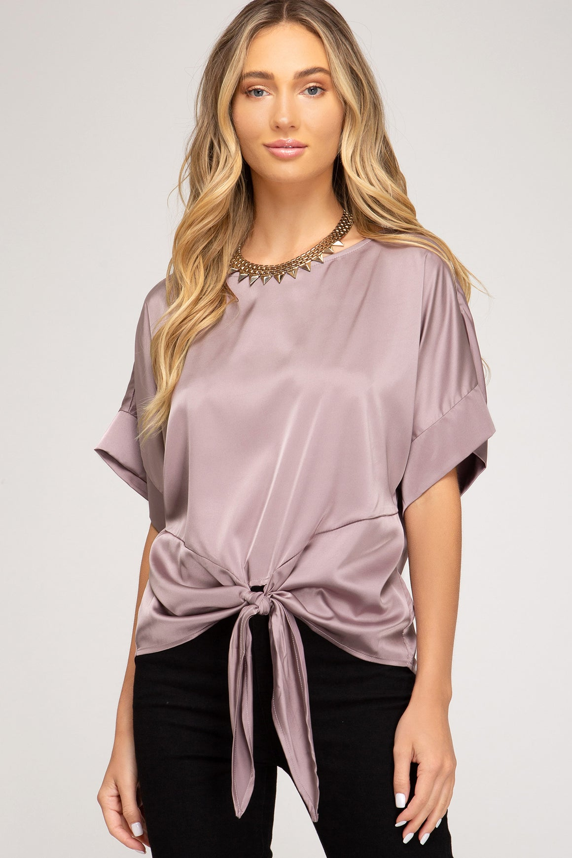 Short Sleeve Satin Top!