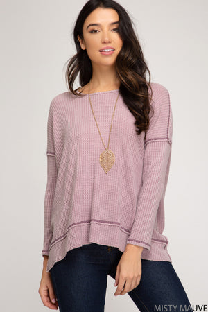 Long Sleeve Top With Twisted Back Detail!