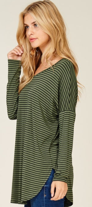 Olive And Black Striped Top!