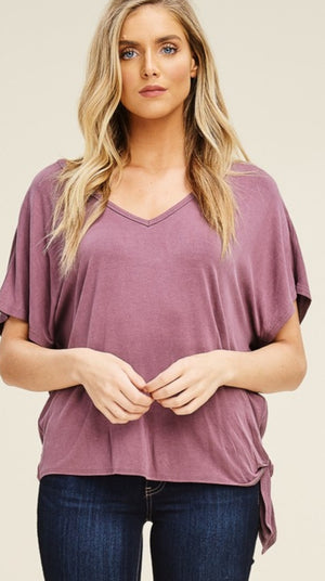 Short Sleeve Top With Tie On One Side!