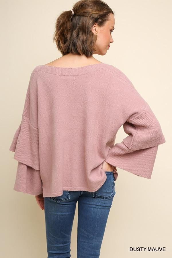 Layered Ribbed Ruffle Sleeve Knit Pullover Sweater!