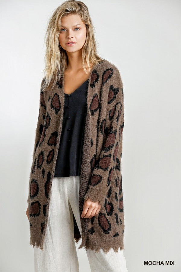 Animal Print Open Front Cardigan Sweater with Distressed Hem!