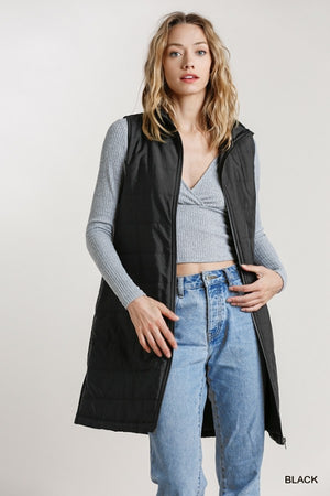 Zip Up Long Vest with Pockets and Side Slits!