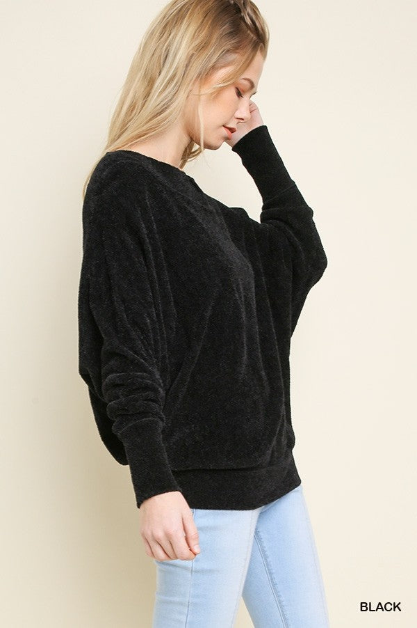 Long Dolman Sleeve Terry Cloth Off Shoulder Pullover Sweater!