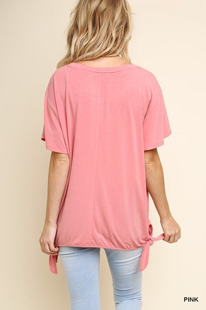 Short Sleeve Basic Round Neck Top with Side Waist Ties!