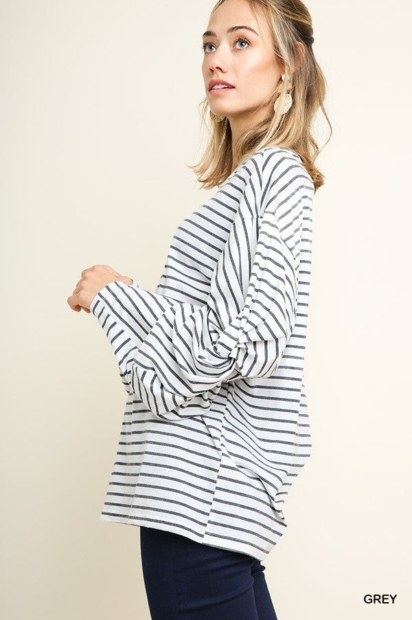 Striped Long Sleeve Round Neck Top with Knot Gathered Elbows