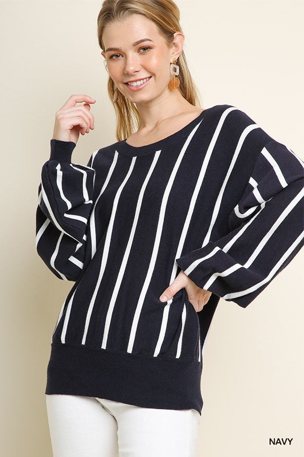 Striped Puff Sleeve Knit Pullover Sweater with a Ribbed Hem and Back Tie Keyhole!