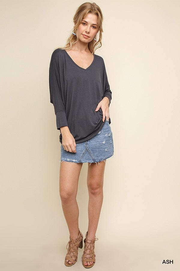 3/4 Sleeve Basic V-Neck Top with Back Knot Detail!